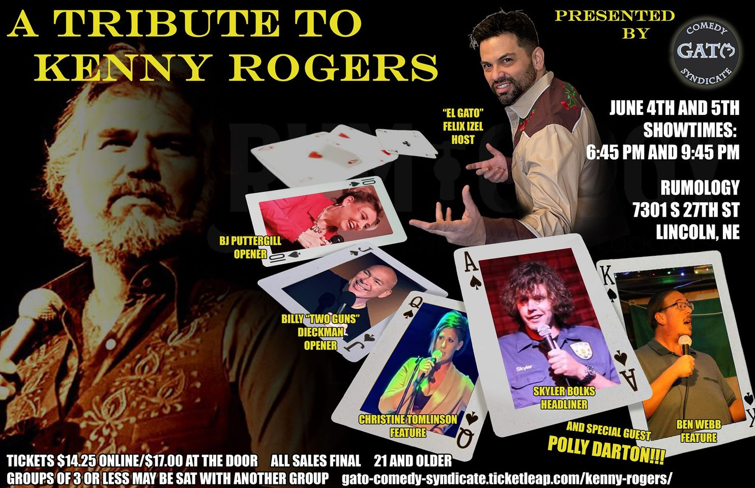 Gato Comedy Syndicate Presents a Tribute To Kenny Rogers In Lincoln NE